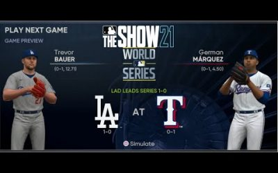 MLB The Show 21 Texas Rangers Franchise Yr 2 World Series Game 2 vs Los Angeles Dodgers